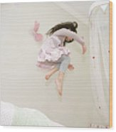 Little Girl Dancing And Jumping On Her Bed Wood Print