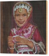 Little Girl In India Wood Print