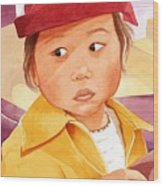 Little Girl In Red Hat Wood Print by Judy Swerlick
