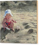 Little Girl Playing By Herself Wood Print