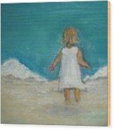 Little Girl Playing On Beach Wood Print