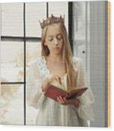 Little Girl Reading Book Wood Print