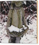 Little Girl Sculpture In The Snow Wood Print