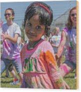 Little Girl Smiles Wood Print