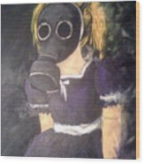 Little Girl Wear Gas Mask Wood Print