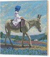 Little Girl With A Blue Bonnet Wood Print