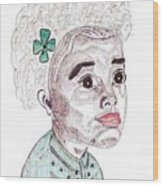 Little Girl With A Green Bow Wood Print