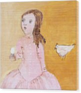 Little Girl With Her Hen Wood Print