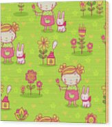 Little Girl With Her Rabbit On A Green Field Wood Print