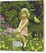 Little Girl With Pail Wood Print