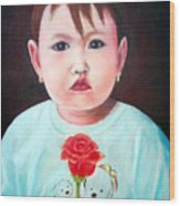 Little Girl With Rose Wood Print