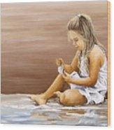 Little Girl With Sea Shell Wood Print