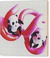 Little Glass Pandas 44 Wood Print