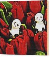 Little Glass Pandas 80 Wood Print