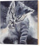 Little Grey Cat Wood Print