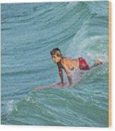 Little Guy Big Wave Wood Print