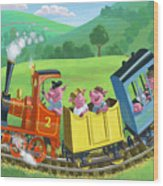Little Happy Pigs On Train Journey Wood Print