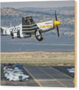 P51 Mustang Little Horse Gear Coming Up Friday At Reno Air Races 5x7 Aspect Signature Edition Wood Print