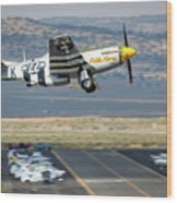P51 Mustang Little Horse Gear Coming Up Friday At Reno Air Races 5x7 Aspect Wood Print