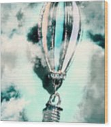 Little Hot Air Balloon Pendant And Clouds Wood Print