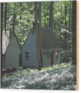 Little House In The Woods Wood Print
