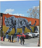 Little India In Jersey City-white Tiger Mural Wood Print