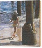 Little Jessica And Her Hat Malibu Pier  Wood Print