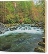 Little Pigeon River Flows In Autumn In The Smoky Mountains Wood Print