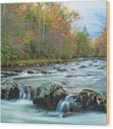 Little Pigeon River Great Smoky Mountains National Park In Fall Wood Print