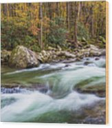 Little Pigeon River In Fall In The Smokies Wood Print