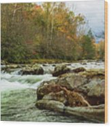 Little Pigeon River In The Greenbrier Section Of Smoky Mountains Wood Print
