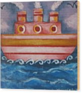 Little Pink Ship Wood Print