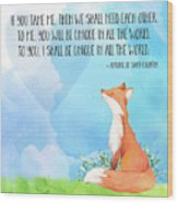 Little Prince Fox Quote, Text Art Wood Print