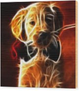 Little Puppy In Love Wood Print
