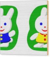 Little Rabbit Boy And Rabbit Girl Wood Print