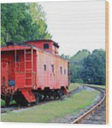 Little Red Caboose Enhanced Wood Print