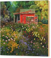 Little Red Flower Shed Wood Print