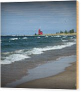 Little Red Lighthouse Wood Print by Trina Prenzi
