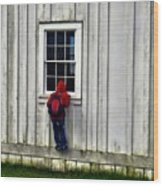 Little Red Peeping Tom Wood Print
