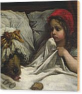 Little Red Riding Hood Wood Print by Gustave Dore