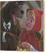 Little Red Riding Hood With Nasty Wolf Wood Print by Martin Davey
