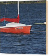 Little Red Sailboat Wood Print