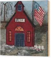 Little Red Schoolhouse Wood Print
