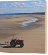 Little Red Tractor Wood Print