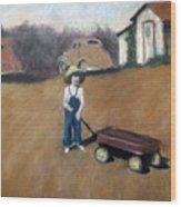 Little Red Wagon Wood Print