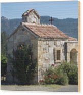 Little Stone Chapel In Vineyards Of Napa Valley Wood Print