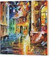 Little Street - Palette Knife Oil Painting On Canvas By Leonid Afremov Wood Print