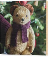 Little Sweet Teddy Bear With Knitted Scarf Under The Christmas Tree Wood Print