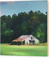 Little White Barn Wood Print