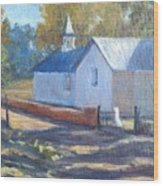Little White Church In New Mexico Wood Print